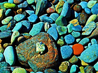 Colorful stones at the rocky portion of Sarpi beach in Batumi, Georgia