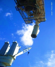 This sort of funnel pours mined phosphate into the hold of cargo ships