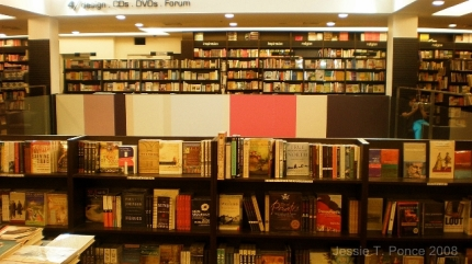 An array of beautifully-arranged books