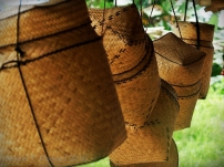 T'boli woven baskets hanging on display
