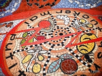 A colorful mosaic with Aborigine wordings